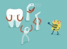 牙齿战斗细菌的设备为保护牙、牙和牙概念的牙齿 库存图片