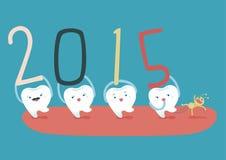 从牙齿的家庭的新年好 免版税库存照片