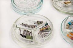 牙齿钻子burs 牙科设备,钻子,研磨剂,运河的牙齿bur,波兰bur,在培养皿玻璃的砂轮 免版税库存照片