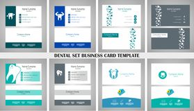 牙齿集合名片 8与商标,元素-传染媒介例证的不同卡片 库存例证