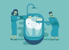 牙医清洗牙,牙齿概念 皇族释放例证