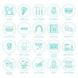 牙医,畸齿矫正术线象 牙齿保护设备,括号,牙假肢,表面饰板,绣花丝绒,龋治疗和 库存例证
