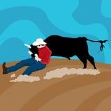 牛争吵者牛仔 免版税库存图片