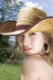 牛仔女孩帽子纵向 免版税图库摄影