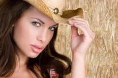 牛仔女孩帽子 免版税库存图片
