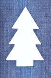 牛仔布圣诞树 图库摄影