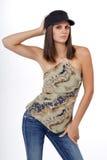 牛仔布帽子牛仔裤妇女年轻人 免版税图库摄影