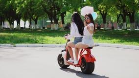 牛仔布短裤的两个美丽的女孩在公园乘坐在一辆电滑行车在夏天 影视素材