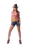 牛仔帽性感的妇女年轻人 免版税图库摄影