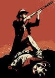 牛仔枪战场面 免版税库存图片