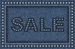 牛仔裤与衣服饰物之小金属片的销售海报 库存例证