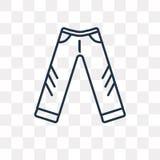 牛仔裤在透明背景隔绝的传染媒介象,线性Jea 库存例证
