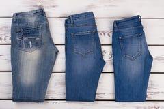 牛仔裤的不同的类型 免版税图库摄影