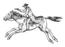 牛仔马骑术系列西方通配 r   E 库存例证