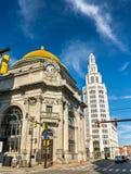 水牛城储蓄银行,修造历史的新古典主义的花花公子艺术- NY,美国 库存图片