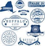 水牛城,纽约 套邮票和标志 免版税库存图片