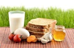 牛奶、大蒜、蜂蜜和鸡蛋用面包 免版税库存照片
