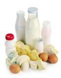 牛奶乳酪酸奶和鸡蛋 免版税库存图片