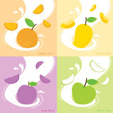 牛奶味道橙色李子芒果苹果计算机传染媒介 免版税图库摄影