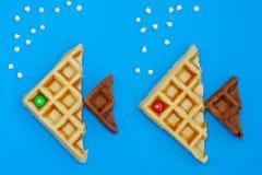 牛奶和巧克力奶蛋烘饼 图库摄影