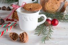 牛奶和曲奇饼圣诞老人的 库存照片