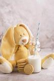 牛奶和曲奇饼在石背景 免版税库存照片