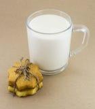 牛奶和自创曲奇饼 免版税库存照片