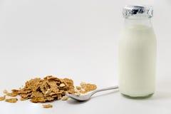 牛奶和谷物清淡的早餐 库存照片