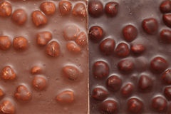 牛奶和黑暗的巧克力与坚果 免版税库存图片