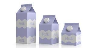 牛奶在白色的纸盒箱子 3d例证 库存例证