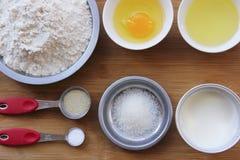 牛奶面包材料  免版税库存照片