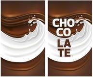 牛奶飞溅用巧克力 库存例证