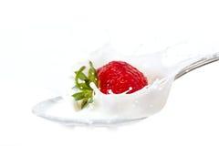 牛奶飞溅草莓 免版税库存图片