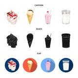 牛奶,钙,产品,食物 在动画片,黑色,平的样式传染媒介标志的奶制品和甜点集合汇集象 库存例证