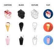牛奶,钙,产品,食物 在动画片,黑色,概述,平的样式传染媒介的奶制品和甜点集合汇集象 向量例证