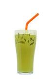 冻牛奶绿茶著名饮料 免版税库存图片