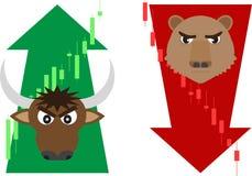 牛市与熊市与股票市场的标志 库存例证