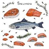 牛排、内圆角、红色鱼三文鱼切片和寿司海鲜菜单的 薄饼 库存图片