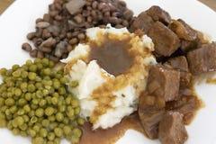 牛排、土豆和小汤 免版税库存图片