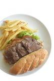 牛排三明治用炸薯条-隔离 免版税图库摄影