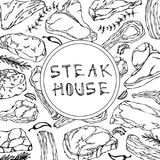 牛排与肉制品和草本的商店卡片 餐馆菜单或屠户市场模板 牛排,羊羔,猪排 免版税库存图片