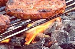 牛排和火 库存图片