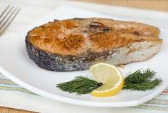 牛排油煎的鳟鱼 免版税库存图片