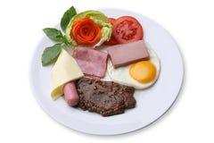 牛排用火腿和乳酪,鸡蛋 免版税库存图片