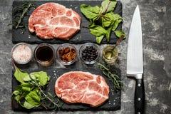 牛排肉用草本和香料 免版税图库摄影