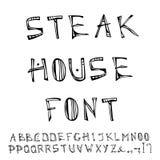 牛排餐厅装饰肉字体,字母表 现实乱画动画片样式手拉的剪影传染媒介例证 图库摄影