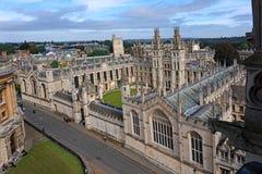 牛津大学从上面 图库摄影