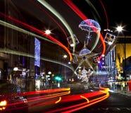 牛津街道圣诞灯在伦敦 图库摄影