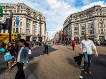牛津马戏的人们在伦敦, hdr 免版税库存照片