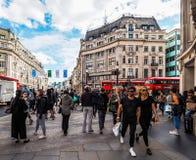 牛津马戏的人们在伦敦(hdr) 免版税库存图片
